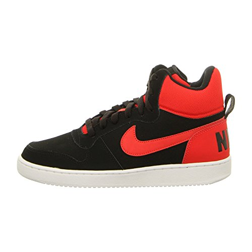 Nike Herren Court Borough Mid Basketball Turnschuhe, Black (Schwarz / Action-Rot-Weiß), 42 EU