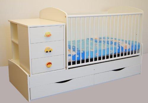 Kinderbett Babybett 170x70 cm Wiege inkl Wickelkommode und Wickelauflage Jugendbett
