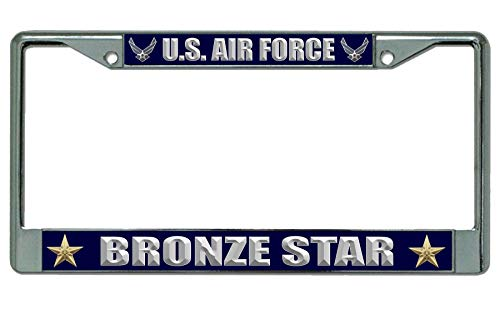 U.S. Air Force Bronze Star Chrome License Plate Frame ()