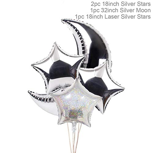 Zpriting 4Pcs Gold Star Baloon Moon Party Balloon Moon and Star Party Decorations Wedding Event Birthday Ballons Accessories Style2 ()
