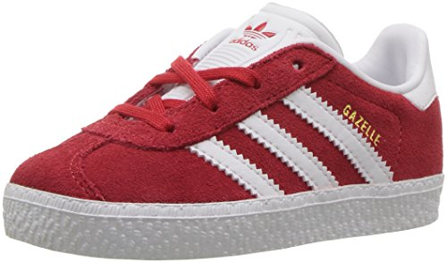 adidas Originals Boys' Gazelle I Sneaker, Scarlet/White/Gold FOIL, 5 Medium US Toddler - Adidas Infant Sneakers