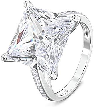 Daesar Damen 925 Silber Ring Prinzess Weiß Zirkonia 12MM Trauring Silber Verlobungsring