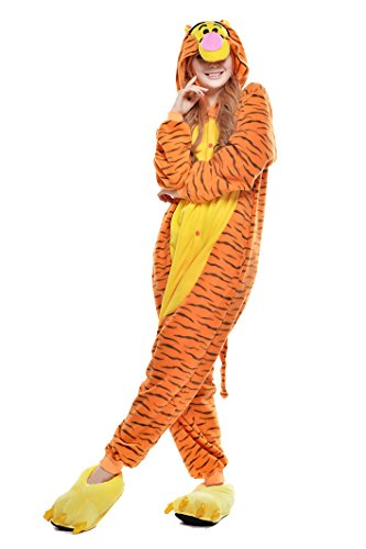 NEWCOSPLAY PECHASE Halloween Adult Pajamas Sleepwear Animal Cosplay Costume (M  Jump Jump Tiger) -