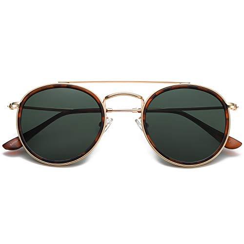 SOJOS Small Round Polarized Sunglasses Double Bridge Frame Mirrored Lens SUNSET SJ1104 with Gold Frame/G15 Polarized Lens
