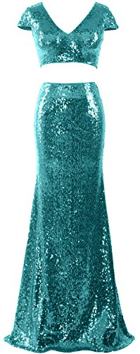 Two Maxi Dress Prom Formal Sleeves Mermaid Turquoise Piece Women Macloth Cap Gown Sequin