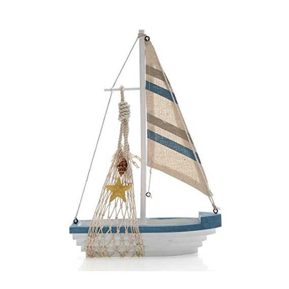 """Chaomian Home Ornaments Fully Assembled 12.4""""x8.4"""" Wooden Nautical Canvas Fish Net Sailboat (Starfish) - Decorate your home with this delightful sailboat model.It measures 12.4""""x8.4""""x3.2"""" Comes fully assembled,ready for sending as a sweet and thought gift Handcrafted with great details to bring excellent enjoyment - living-room-decor, living-room, home-decor - 417S8uajYKL. SS570  -"""