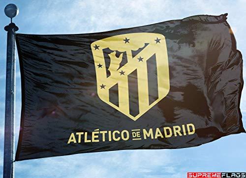 (Atletico Madrid Flag Banner 3x5 Spain Futbol Soccer Bandera Black Gold Premium)