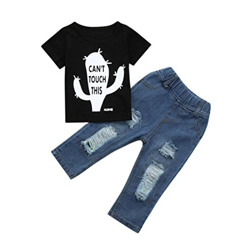 Baby Jeans Sleeve Pants Toddler Boys Printed Kid T Tops Hole Junjie Summer Letter Sets Cactus New Shirt Crewneck Black Short Break Outfits 2Pcs ZwHxqRI