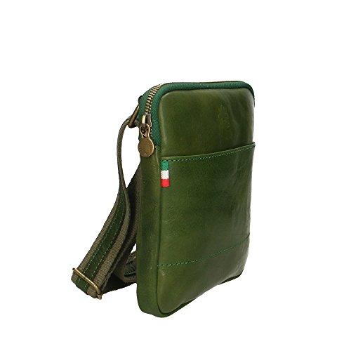 hombre auténtico Made bolsa del 16x18x4 Verde cuero de Hombro Cm Italy in Aren wYa4EE