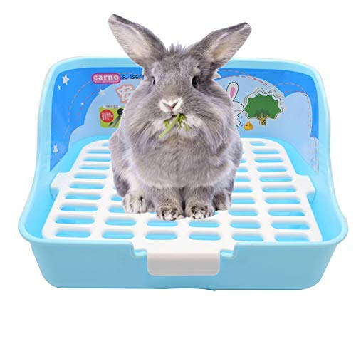 (WYOK Rabbit Cage Litter Box Easy to Clean Potty Trainer for Cat Adult Guinea Pig Ferret Small Animals (Blue))