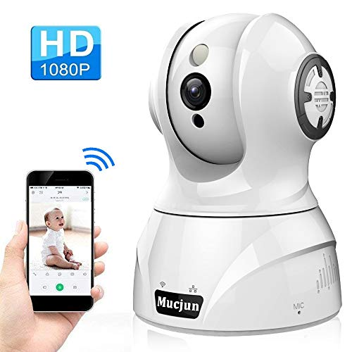 Security Wireless IP Camera, Mucjun HD 1080p WiFi Surveillance Camera Nanny Camera for Baby/Elder/Pet, 2 Way Audio Night Vision Motion Detection Alert, Pan/Tilt/Zoom Remote Monitor -Work with Alexa by Mucjun