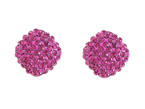 (Alilang Fuchsia Hot Pink Round Cube Czech Crystal Rhinestone Stud Ball Earrings)