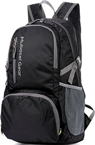 Mubasel Gear Backpack - Lightweight Backpacks for Travel Hiking - Daypack for Women Men (Black) by Mubasel Gear