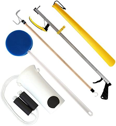 RMS Hip Kit – Premium 5-Piece Hip Knee Replacement Kit – Ideal for Recovering from Hip Replacement, Knee or Back Surgery, Mobility Tool for Moving and Dressing (32 Inch Reacher)