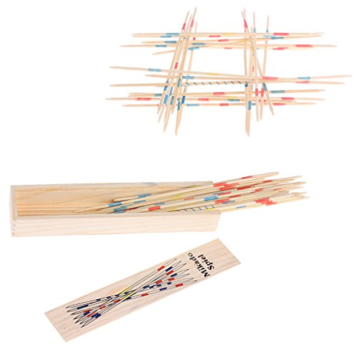 SELFON Traditional Mikado Spiel Wooden Pick Up Sticks Set Traditional Game With Box Toy (Spiele Halloween Party)