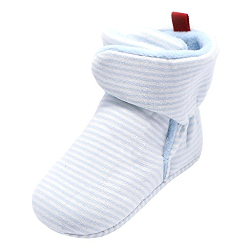 Annnowl Baby Booties Socks Warm Stay On Adjustable Boots (6-12 Months, Blue Stripes)