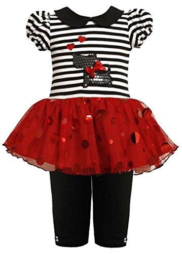 Scotty Dog Leggings - Bonnie Jean Baby Girls 3M-24M Scottie Puppy Dog Sparkle Tutu Dress/Legging Set (3-6 Months, Black/White)