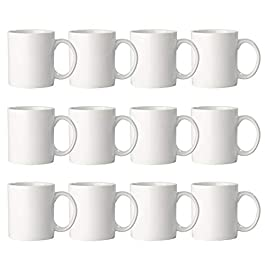 270ml Plain White Mugs, Large Handle – Set of 12 – Tea Coffee Stoneware Ceramic Cups for Everyday Use.