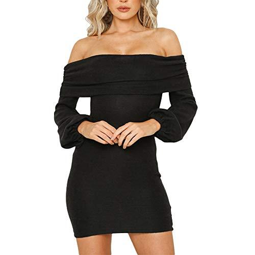 (kaifongfu Short Dress,Women Off Shoulder Long Sleeve Elastic Stretchy Bodycon Mini Dress (XL, Dress Black))