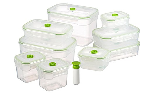 Mushroom Canister Set - Vacuum Seal Food Storage Containers - Deep Freezer Food Sealer - Hand Held Vacuum Food System - Quick Seal Marinator - Rectangle - 19Pc - Green Color
