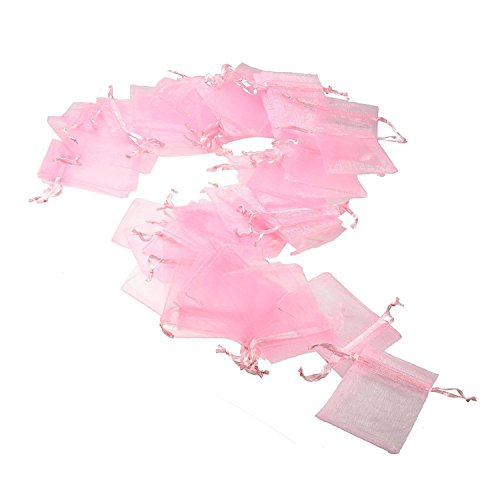 JZK 50x Pink Organza Bags Party Favour Bags Confetti Bags Small Gift Bags, 7x9 cm, for Candy, Small Jewelry, Gift, Beads, Dry Flower, for Wedding, Birthday, Baby Shower, Halloween, Christmas -