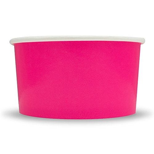Pink Floral Soup Bowl - Pink Paper Ice Cream Cups - 6 oz Dessert Bowls - Comes In Many Colors & Sizes! Frozen Dessert Supplies - Fast Shipping! 25 Count