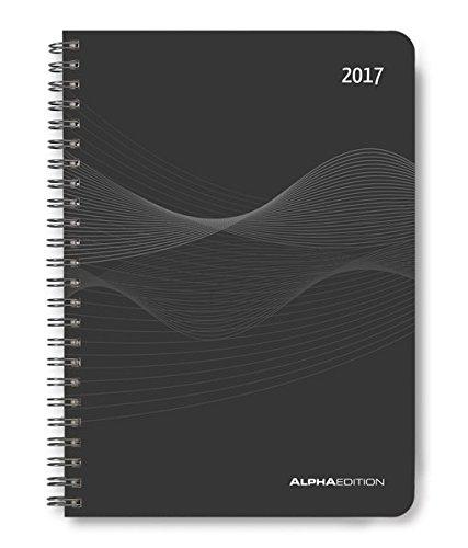 Wochenplaner PP-Einband schwarz 2017 - Kalender-Ringbuch A5 / Cheftimer A5 - Ringbindung - 1 Woche 2 Seiten - 128 Seiten