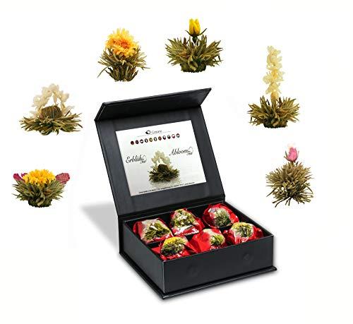 """Creano Teeblumen Mix 6er ErblühTee""""Weißer Tee"""" in edeler Magnetbox mit Silberprägung"""