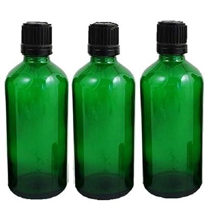Pack 3 x Verde Vidrio botellas de 100 ml con seguridad Negro Se envía Pipeta deckel