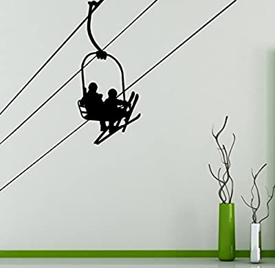 Ski Lift Vinyl Decal Mountain Lift Wall Sticker Nature Landscape Home Interior Removable Wall Decor Bedroom Art 9(mnt)