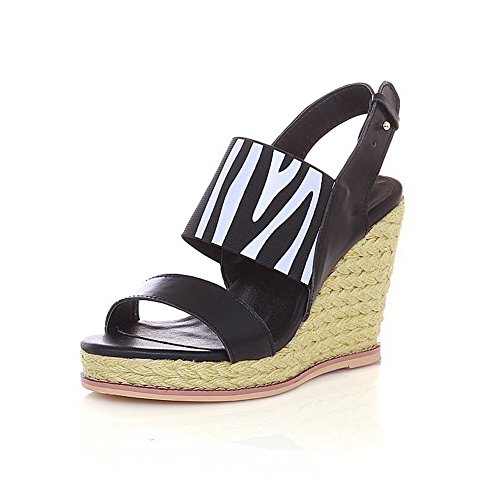 Amoonyfashion Donna Materiale Morbido Open Toe Tacchi Fibbia Sandali Solidi Nero