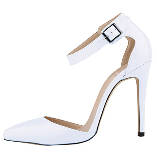 Womens Heel White Toe Anckle Strap Pointed Ladies fereshte Shoes Court High 5twgRqPKv