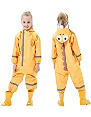 Toddler Rain Suit Baby Rain Suit with Hood Waterproof Coverall One Piece Rain Suit Kids Muddy Buddy(3-10 Years)