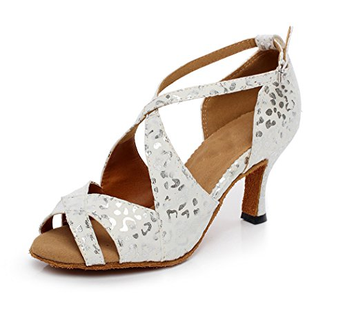 Floral TDA High Heel White Dance Shoes Suede Salsa Flared Latin Women's q6OxnwCP6I