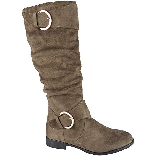 Womens Mid Calf Faux Suede Rouched Buckle Zip Low Heel Boots Size 3-8 Khaki 07TbssNbZL