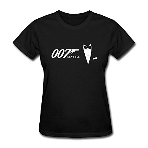 DASY Women's O Neck James Bond Tees Large Black