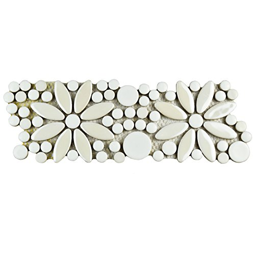 Ceramic Mosaic Wall - SomerTile FSHGFBWH Ursa Flower Porcelain Mosaic Border Floor and Wall Tile, 4.25
