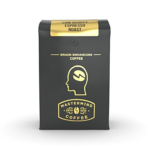 Alkaline Buzz - Brain Enhancing Espresso Roast - 100% Ground Organic Low Acidity Coffee - Heightens Mental Acuity, Improves Memory & Focus - Impossibly Delicious! (10 oz) - Edge Memory Edge Boost