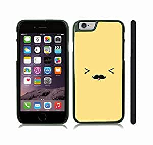 Case Cover For Apple Iphone 6 Plus 5.5 Inch with Cute Mustache Tongue Out Face Animated Design Snap-on Cover, Hard Carrying Case (Black)