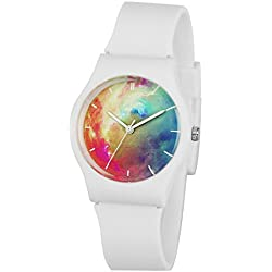 Zeiger KW024 Kids Children Young Teen Girls Women Watch with Cool Starry Dial Silicon Band (White)