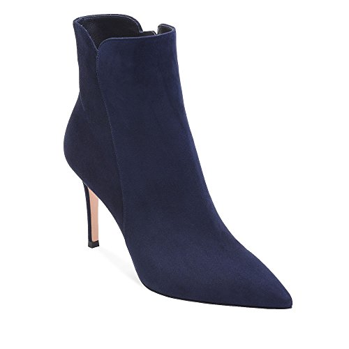 ELASHE Women Ankle Boots Mid Heel | 8cm Pointy Toe Stilettos Ankle Boots | Women's Fashion Stiletto Mid-High Heel Ankle Boots Navy