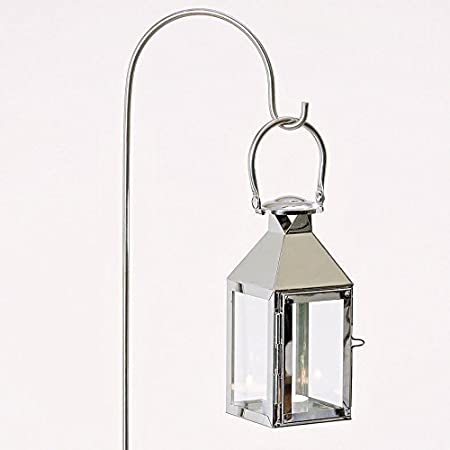 Lantern In Chrome With Lantern Pole For Candles Or Tea Lights / Garden Pole