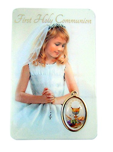 Religious Art Girl's First Holy Communion Prayer Card with Medal