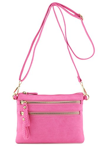 Pink Cross Body (Multi Zipper Pocket Small Wristlet Crossbody Bag (Pink))