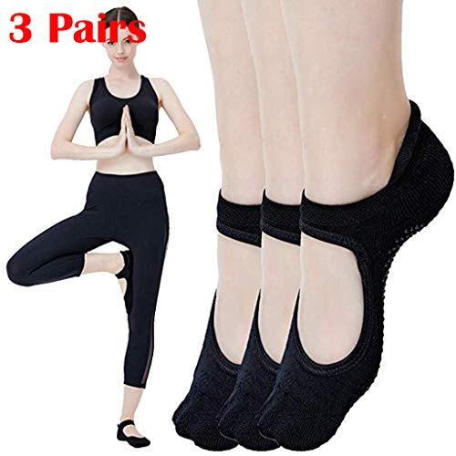 Haluoo Yoga Socks, 3 Pairs Black Non-Skid Silicone Soles Pilates Socks Non Slip Ballet Barre Bellarina Socks with Grip for Women Girls, Ideal for Dance, Barefoot Workout (3 Pairs)
