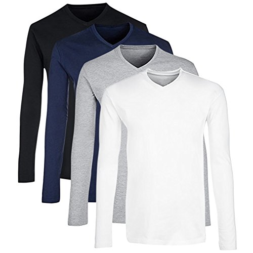 CloSoul Direct Men's Set Of 4 Solid Colors Everyday Activewear Casual V Neck Long-Sleeve T-Shirt Jersey Undershirt