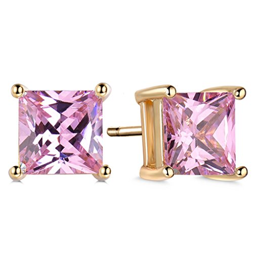 GULICX Yellow Gold Tone Created Pink Sapphire Noble Stud bridal earrings (Created Diamond Earings)