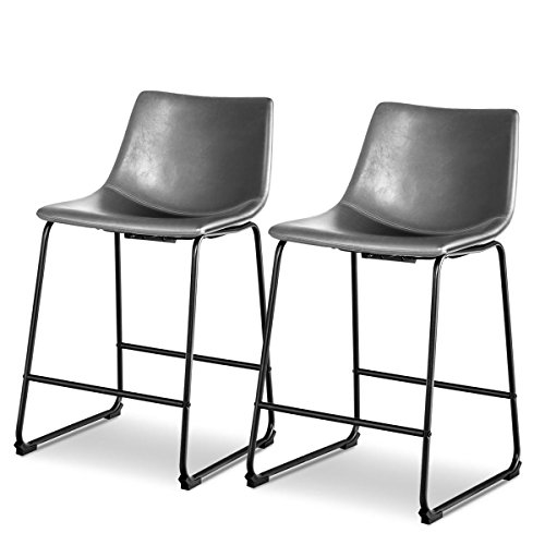 Giantex 2Pcs Dining Chairs Barstools Accent Armless Chairs PU Leather Home Dining Room Office Furniture Reception Chairs Guest Side Chairs w/Padded Seat Metal Sled Legs,Gray