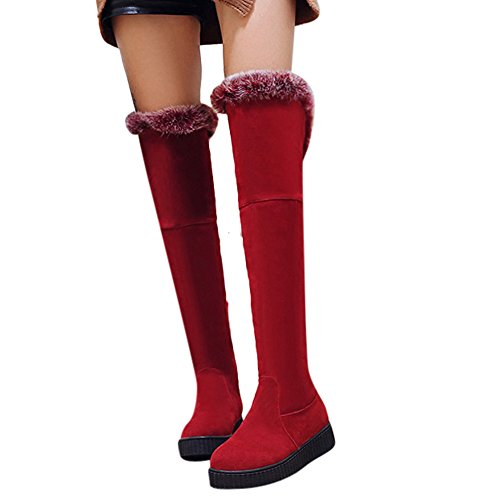 Latasa Womens Faux Fur Platform Cold Weather Suede Tall Boots Red OBxISUs