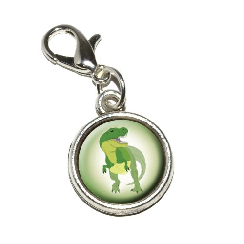 Graphics and More Tyrannosaurus Rex T-rex Dinosaur Antiqued Bracelet Pendant Zipper Pull Charm with Lobster Clasp